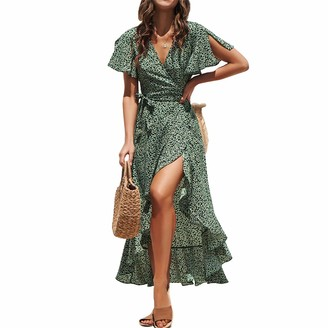 Crabitin 2020 New Women's Polka Dot Pattern Dress V-Neck Chiffon Dress Bohemian Beach Maxi Dress Green