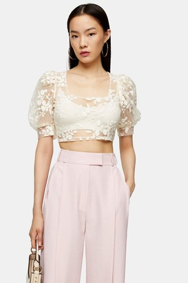 Topshop Womens Cream Embroidered Mesh Floral Top - Cream