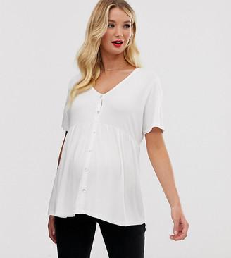 Asos Nursing DESIGN Maternity nursing v neck button through short sleeve top-Cream