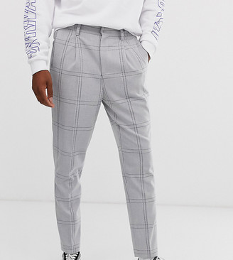 Asos Design DESIGN Tall tapered crop smart trousers in oversized minimal check with elasticated waist in grey