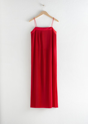 And other stories Plisse Pleated Midi Dress