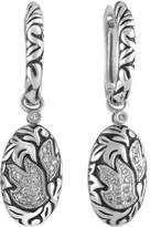 Ice Diamond Dangle Hoop Earrings in Sterling Silver