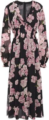 Giambattista Valli Shirred Floral-print Silk-georgette Midi Dress