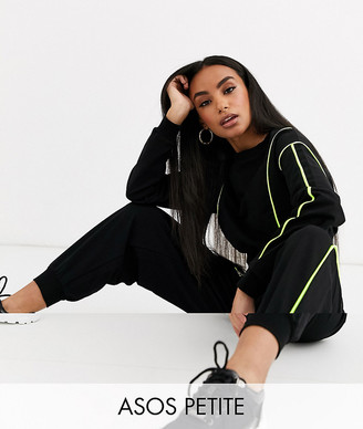 Asos DESIGN Petite crop sweat and jogger tracksuit with neon piped detail-Black