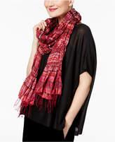 Eileen Fisher Silk Blend Printed Tassel-Trim Scarf