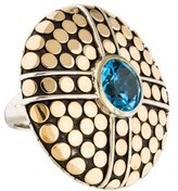 John Hardy Two-Tone Topaz Dot Round Cocktail Ring