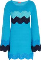STAUD Antoni Crochet-Knit Cotton Mini Dress