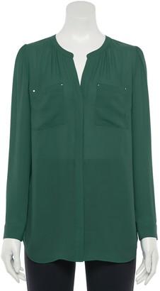 Apt. 9 Women's Shirred Splitneck Tunic