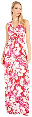 Vince Camuto Printed Jersey Wrap Front Maxi (Pink Multi) Women's Dress