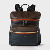 Paul Smith Men's Navy And Brown Lamb Leather Backpack