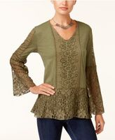 Style&Co. Style & Co Lace Bell-Sleeve Top, Created for Macy's