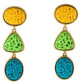 Oscar de la Renta Three-Tier Carved Drop Earrings