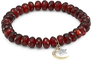 Sydney Evan Two-Tone 14K Gold, Red Garnet & Diamond Moon Star Charm Beaded Bracelet