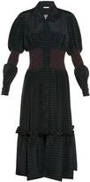 Fendi Balloon-sleeved striped silk-crepe midi dress