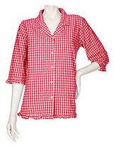Denim & Co. As Is Seersucker Gingham 3/4 Sleeve Ruffle Shirt