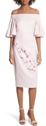 Ted Baker Soft Blossom Off-the-Shoulder Sheath Dress