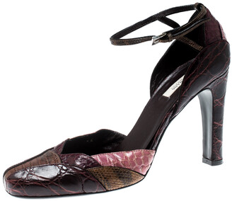 Prada Multicolor Mixed Exotic Skins Ankle Strap Sandals Size 37.5