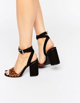London Rebel 2 Part Block Heel sandals