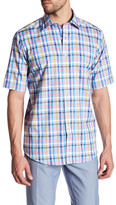 Bugatchi Classic Fit Short Sleeve Plaid Shirt