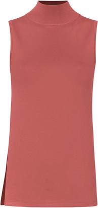 Sally LaPointe Lightweight Mock Neck Wool-Silk-Cashmere Tank Top