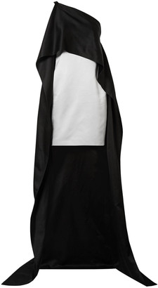 Narciso Rodriguez One-shoulder Cape-effect Silk Duchesse-satin Mini Dress