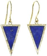 Jennifer Meyer Diamond Lapis Inlay Triangle Earrings - Yellow Gold