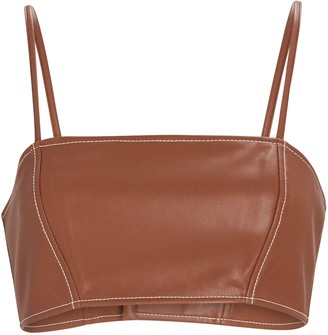 STAUD Bomber Vegan Leather Crop Top