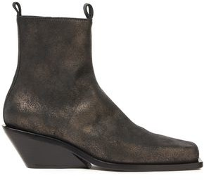Ann Demeulemeester Metallic Brushed-leather Wedge Ankle Boots