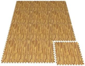 Sorbus Interlocking Floor Mat - Light Wood Grain Print, 12 Pieces and Borders