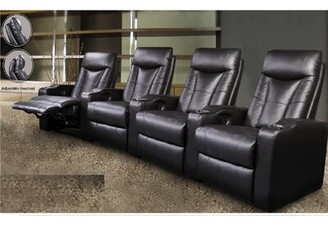 Wildon Home St. Helena Home Theater Row Seating (Row of 4 Upholstery: Black Faux Leather