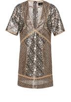 J. Mendel V-Neck Metallic Mini Dress