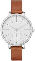 Skagen Women's Chronograph Hagen Brown Leather Strap Watch 34mm SKW2434