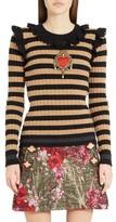 Dolce & Gabbana Women's Heart Patch Stripe Wool & Cashmere Sweater