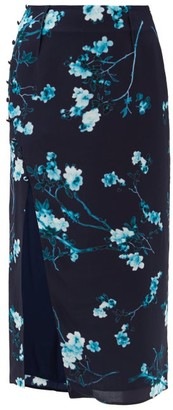 Altuzarra Edmund Side-slit Floral-print Silk Skirt - Blue Multi