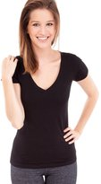 Active Products Active Basic Women's Plain Basic Deep V Neck T-Shirt with Cap Sleeves