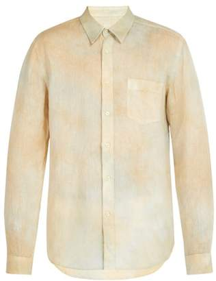120% Lino Hand-dyed Linen Shirt - Mens - Yellow Multi