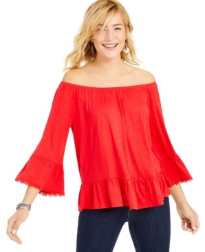 Style&Co. Style & Co Off-The-Shoulder Bell-Sleeve Top, Created for Macy's