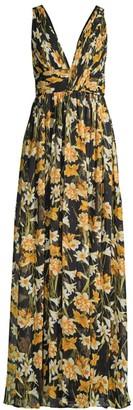 Aidan Mattox Printed Slit Maxi Dress