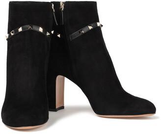 Valentino Garavani Rockstud Leather-trimmed Suede Ankle Boots