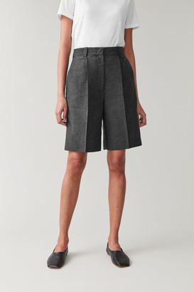 Cos Linen-Mix Wide-Leg Pleated Shorts