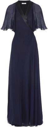 Lanvin Chiffon-paneled Silk Crepe De Chine Wrap Gown