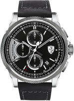 Ferrari Scuderia Men's Chronograph Formula Italia S Black Leather Strap Watch 46mm 830275