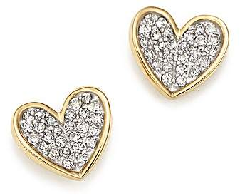 Adina 14K Yellow Gold Tiny Pavé Diamond Folded Heart Stud Earrings