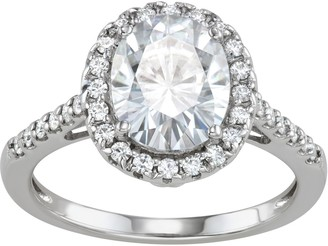 Charles & Colvard 14k White Gold 3 1/2 Carat T.W. Lab-Created Moissanite Oval Halo Engagment Ring