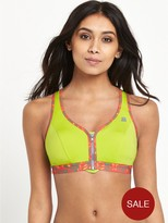 Shock Absorber Active Zip Plunge Sports Bra - Green Print