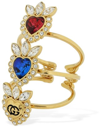Gucci Set Of 3 Crystals Heart Open Rings