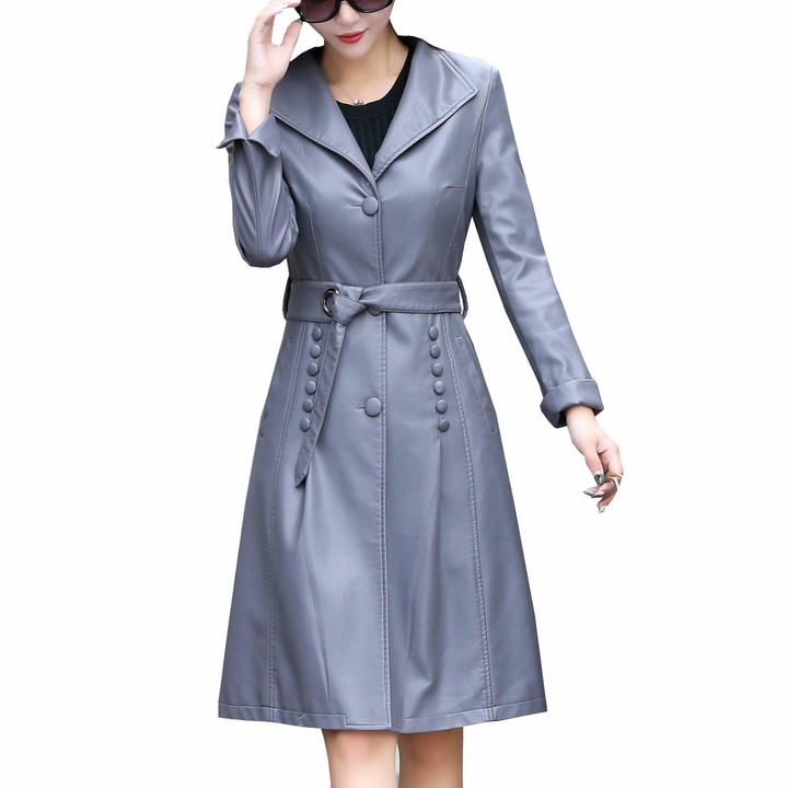 Valin Women Grey Fitted Long Faux, Womens Faux Leather Trench Coat Uk
