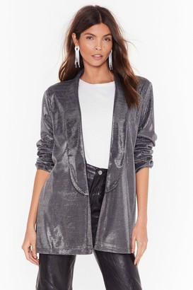 Nasty Gal Womens Hit the Lights Metallic Longline Blazer - grey - 4