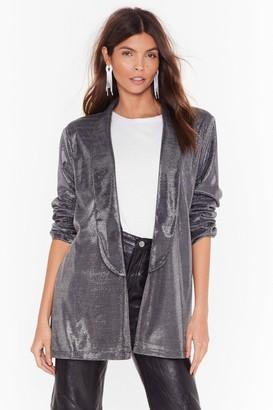 Nasty Gal Womens Hit the Lights Metallic Longline Blazer - Grey - 4, Grey