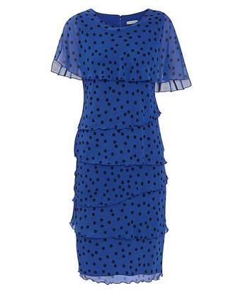Gina Bacconi Evanna Spot Chiffon Dress